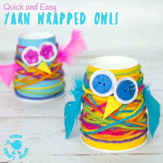 PAPER CUP YARN WRAPPED OWL CRAFT - Want an easy preschool owl craft? These Paper Cup Owls are a hoot! Cute, colourful, fun and great for fine motor skills. Owl crafts are such a fun fall craft idea for kids. #owls, #owl #owlcrafts #owlcraft #kidscraft #kidscrafts #fall #fallcrafts #fallcraft #autumn #autumncrafts #autumncraft #papercups #papercupcrafts #yarn #yarnwrapped #yarncrafts #kidscraftroom