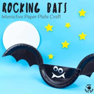 This Rocking Paper Plate Bat Craft is a great way for kids to get creative and play! Tap the bat's wings and see it rock and wobble from side to side as if it was flapping and flying through the night sky! Such a fun interactive Halloween craft. #halloween #halloweencrafts #halloweenactivities #halloweenkids #kidscrafts #bat #bats #batcrafts #paperplates #paperplatecrafts
