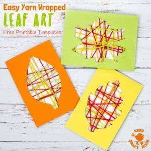 This Yarn Wrapped Leaf Craft is so pretty! A fabulous way to capture the colours of the season and build fine motor skills. An easy to make leaf craft with 6 free printable templates to choose from. A simple and fun Fall craft for kids of all ages. #leaf #leaves #Fallcrafts #Fallart #leafcrafts #leafart #Autumnart #Autumncrafts #yarncrafts #kidscrafts #kidsactivities #finemotorskills #yarn #kidscraftroom