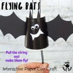 PAPER CUP FLYING BAT CRAFT - These paper cup flying bats are really quick and easy to make so it's a great craft to do with kids of all ages from toddlers to tweens. Built around a paper cup these little bats cleverly fly up and down when you pull the strings. Such a fun Halloween craft for kids. #bat #bats #batcrafts #halloween #halloweencrafts #papercups #papercupcrafts #kidscrafts #kidscraftroom #halloweendecorations