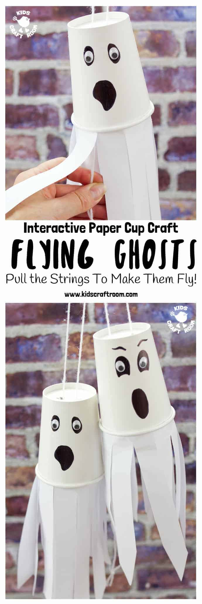 Do your kids love interactive Halloween crafts? We do! It's so fun to make something and then be able to play with it too. This easy Paper Cup Flying Ghost Craft is sure to be a hit! Pull the strings to see the paper cup ghosts fly up and down! So spooky and fun! #halloween #halloweencrafts #halloweendecorations #kidscrafts #crafts #ghosts #ghostcrafts #papercups #papercupcrafts #kidscraftroom