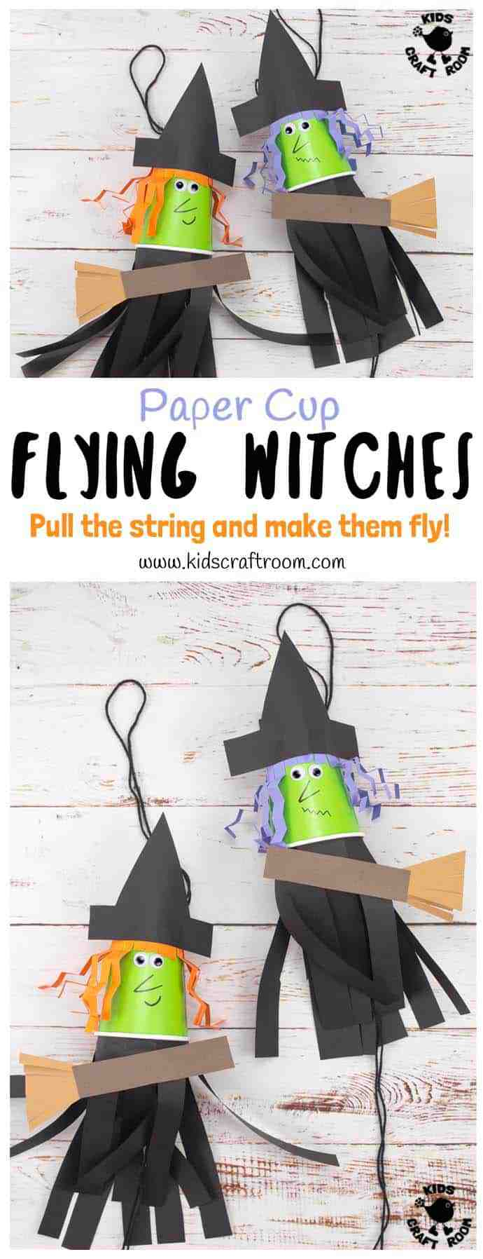 This Flying Paper Cup Witch Craft For Kids is so easy to make and loads of fun! Children will LOVE how interactive this paper cup craft is. Just pull the string and watch your witch fly up and down on her broomstick! Such a fun Halloween craft! #witch #halloween #witchcraft #witchcraftforkids #halloweencrafts #kidscrafts #kidscraft #papercupcrafts #papercups #witches #halloweencraft #halloweendecorations #kidscraftroom #preschool #kids