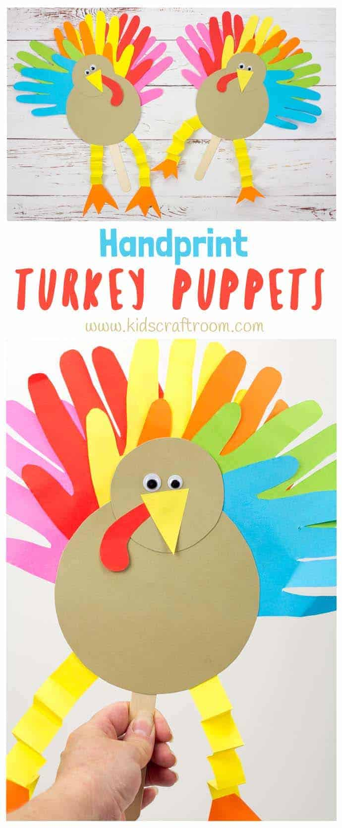 These Thanksgiving Handprint Turkey Puppets are such a fun way to keep the kids entertained this holiday and because the turkey's feathers are made from handprints they're an adorable keepsake as well! Such a fun Thanksgiving craft to make and play with and if you want to you can write thankful notes on the tail feathers too. #thanksgiving #thanksgivingcrafts #turkey #turkeycrafts #turkeyday #puppets #handprintcrafts #kidscrafts #kidscraftroom
