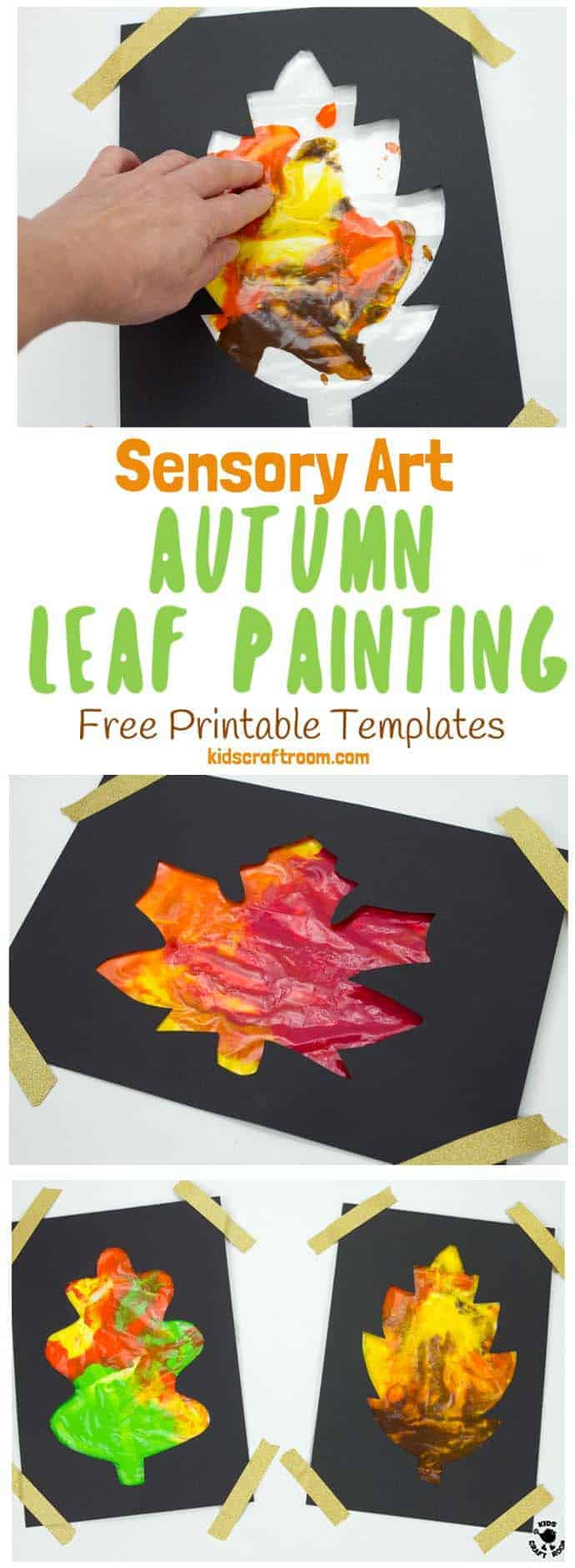 Mess Free Sensory Autumn Leaf Painting is a wonderful activity to explore the changing colours of the season and engage the senses. Kids can watch leaves change colour right in front of their eyes with this hands-on Autumn art idea. (6 Free Printable Leaf Templates) #autumn #fall #autumncrafts #fallcrafts #autumnart #fallart #kidscrafts #kidsart #fallactivities #autumnactivities #sensory #sensoryplay #sensoryart #painting #kidspainting #kidscraftroom