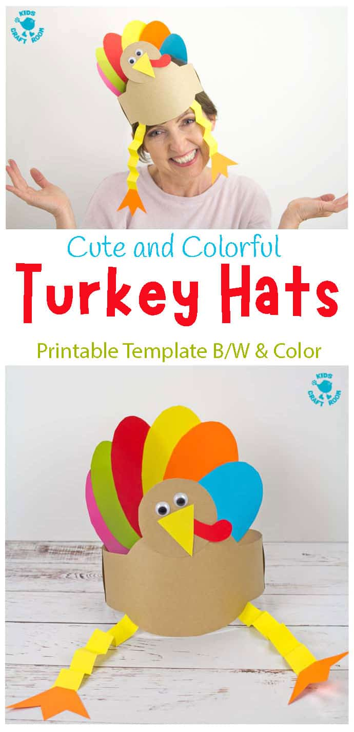 Printable Turkey Hat Craft For Thanksgiving pin image 1