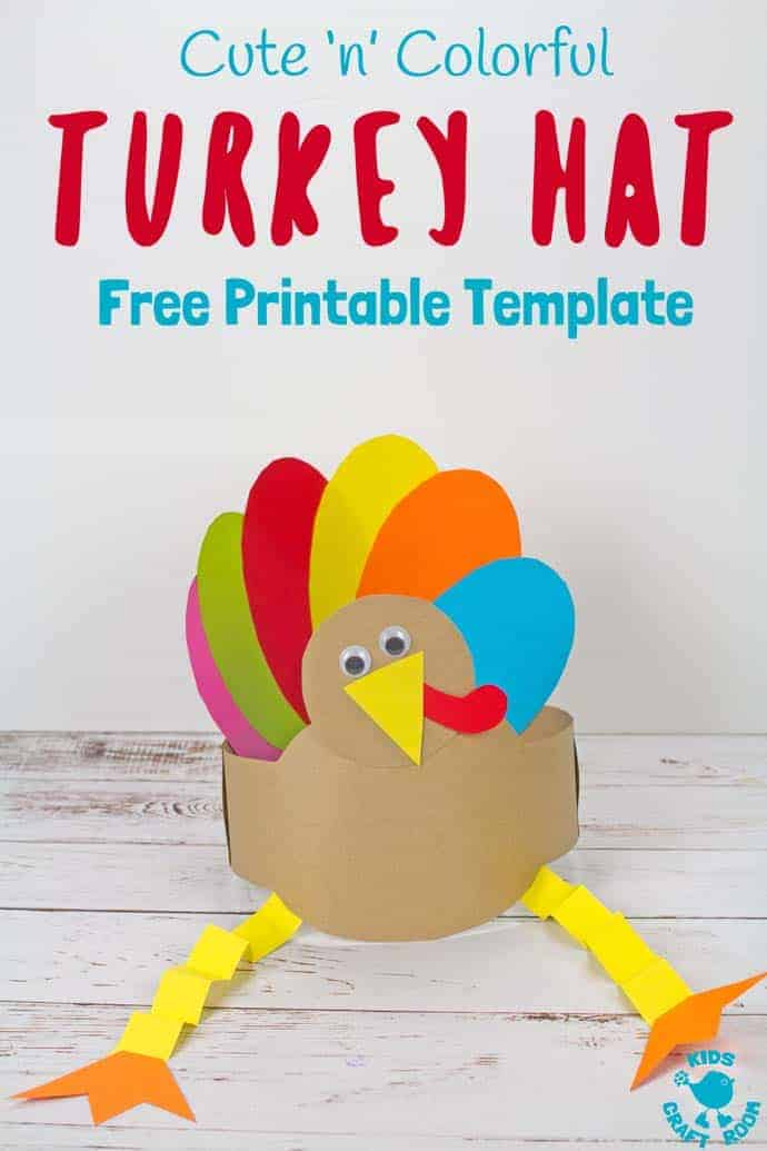 Looking for an easy Thanksgiving craft the whole family can enjoy? This Free Printable Turkey Hat Craft is so cute colourful and fun! #turkey #turkeycrafts #thanksgiving #printable #freeprintable #turkeyday #hat #headband #kidscrafts #kidscraft #kidscraftroom