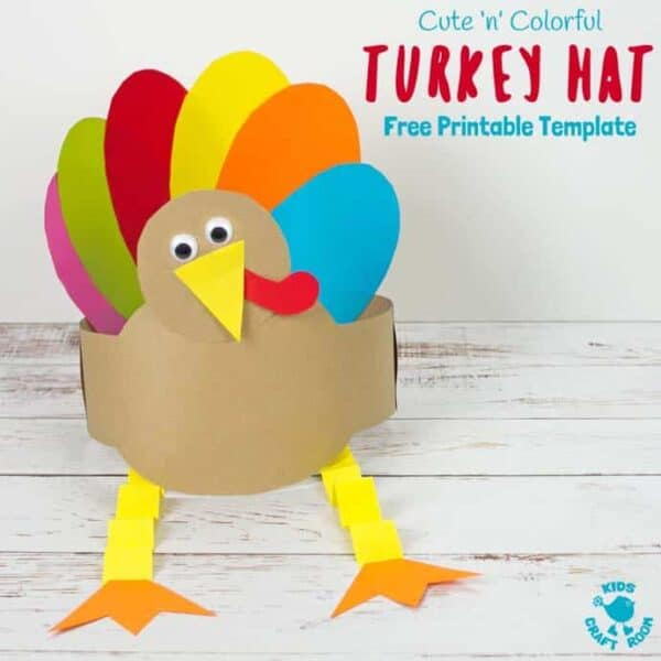 Looking for an easy Thanksgiving craft the whole family can enjoy? This Free Printable Turkey Hat Craft is so cute colourful and fun! #turkey #turkeycrafts #thanksgiving #printable #freeprintable #thanksgivingcrafts #hat #headband #kidscrafts #kidscraft #kidscraftroom