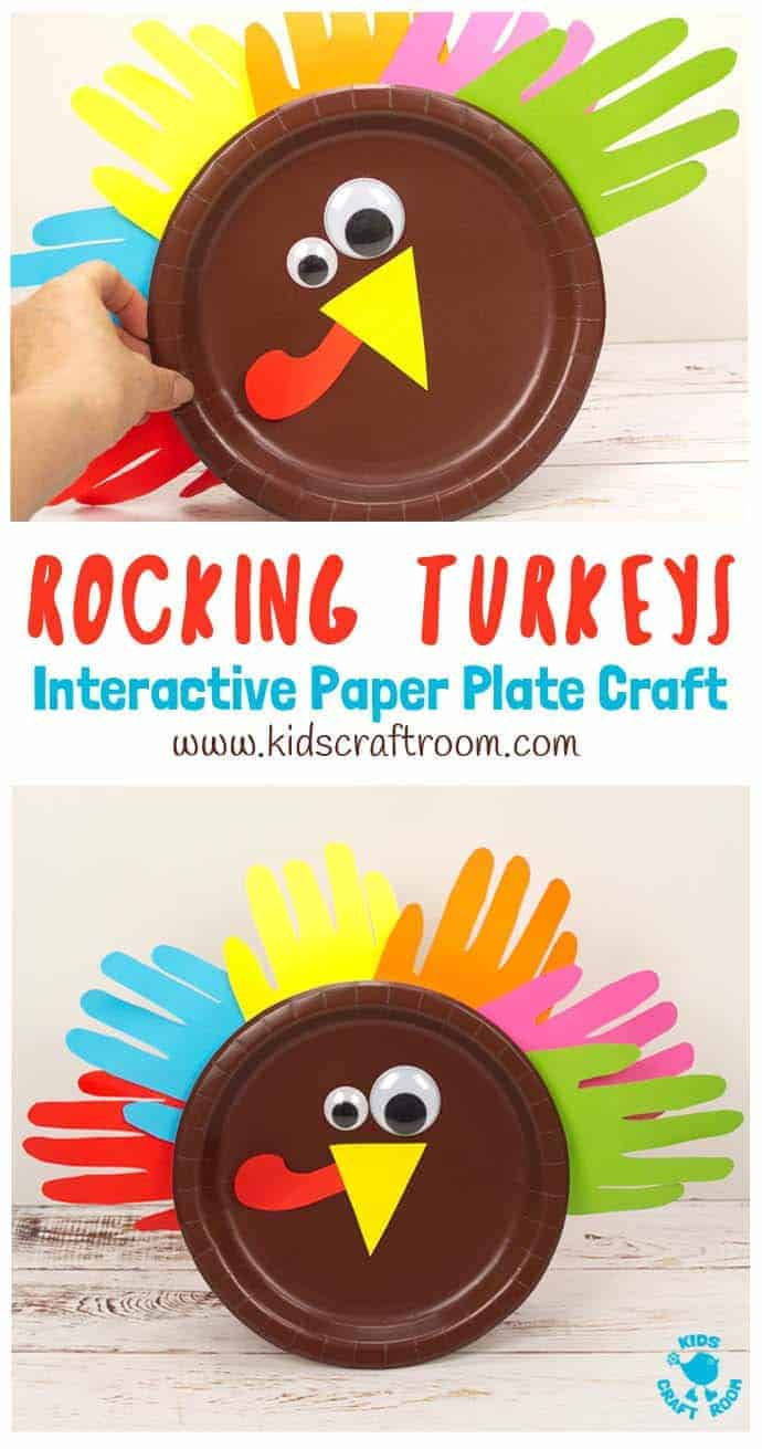Looking for a fun and interactive Thanksgiving craft for toddlers and preschoolers? This Rocking Paper Plate Turkey Craft is super simple for little hands to make and play with. This easy Thanksgiving turkey craft is free standing and wobbles from side to side when kids tap it. Simple paper plate crafts can be such fun! Gobble! #thanksgiving #thanksgivingcrafts #turkeys #turkeycrafts #kidscrafts #paperplatecrafts #turkeyday #thanksgivingactivities #kidscraftroom