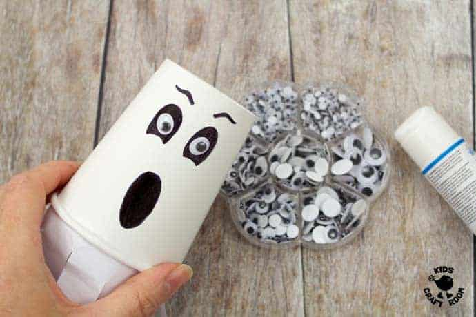 Step 5 Flying Paper Cup Ghost Craft For Kids