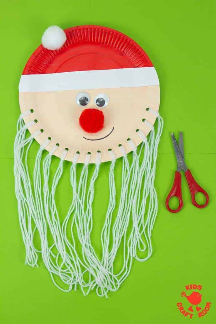 Are you looking for an educational Santa craft idea to enjoy with your toddlers and preschoolers this Christmas? This Trim The Beard Paper Plate Santa Craft is adorably cute and gives kids lots of opportunity to develop their fine motor cutting skills and have fun! #santa #santacrafts #paperplatecrafts #christmas #christmascrafts #christmascraftskids #fatherchristmas #fatherchristmascrafts #kidscrafts #finemotorskills #kidscraftroom