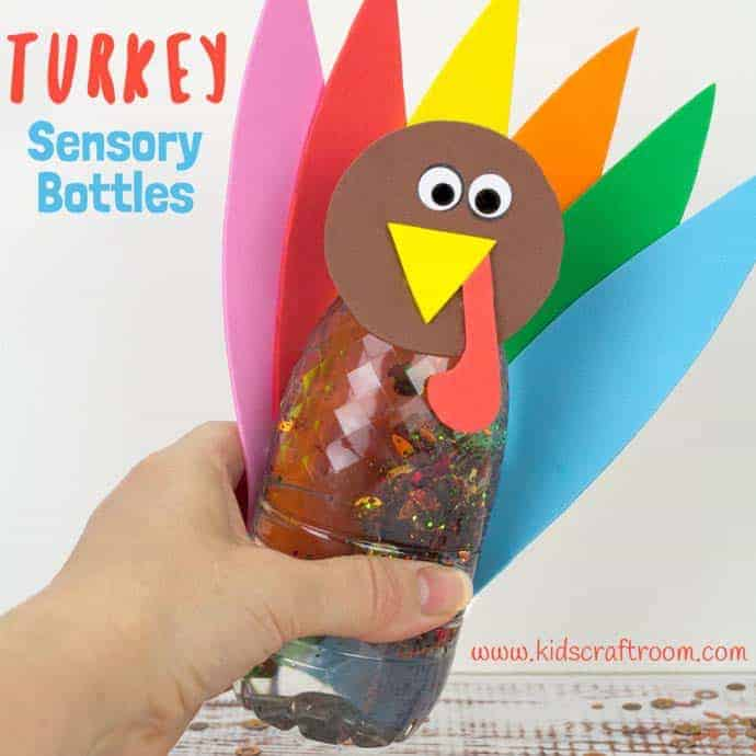 Thanksgiving Turkey Sensory Bottles are a lovely calming sensory play idea. They're lots of fun, simple to make and a great way to unwind this holiday. #sensoryplay #sensory #thanksgiving #thanksgivingcrafts #thanksgivingactivities #kidsactivities #play #playideas #sensorybottles #discoverybottles #toddlers #preschoolers #kidscraftroom