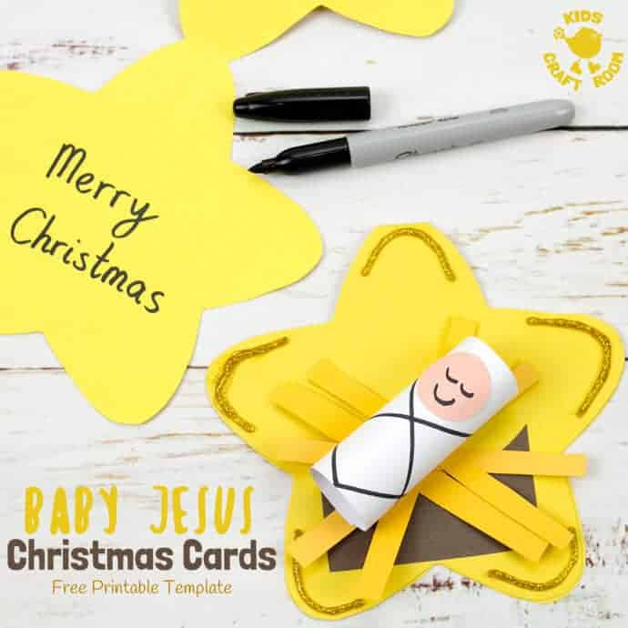 image about Free Printable Religious Christmas Cards referred to as Xmas Card Child Jesus Craft - Small children Craft House