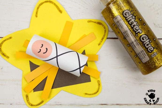 This Christmas Card Baby Jesus Craft is the sweetest! Download your free printable template to make a cute little Jesus lying in his manger on the Star of Bethlehem. An adorable religious Christmas craft for kids. #Jesus #jesuscrafts #babyjesus #christmascards #christmas #christmascrafts #kidscrafts #kidscraftroom