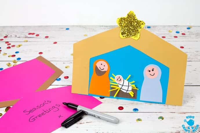 This Christmas Card Nativity Craft is adorably cute and easy to make with the free printable template. A lovely Christmas craft for preschoolers and Sunday school. #nativity #nativitycrafts #christmas, #christmascrafts #kidscrafts #kidscraftroom #christmascards