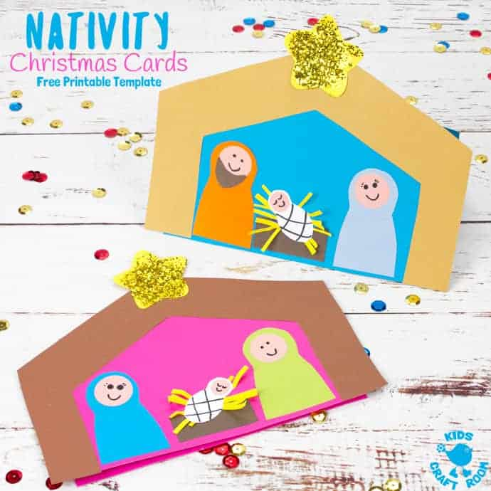photograph relating to Printable Christmas Cards for Kids titled Xmas Card Nativity Craft - Youngsters Craft Place