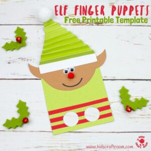 Kids will love this Christmas Elf Finger Puppet craft. Use your fingers to make the elf puppets dance about helping Santa and being mischievous! A fun Christmas craft for kids. (Free printable elf craft template) #christmas #elf #kidscrafts #printable #freeprintable #elves #christmascrafts #puppet #puppets #kidscraftroom