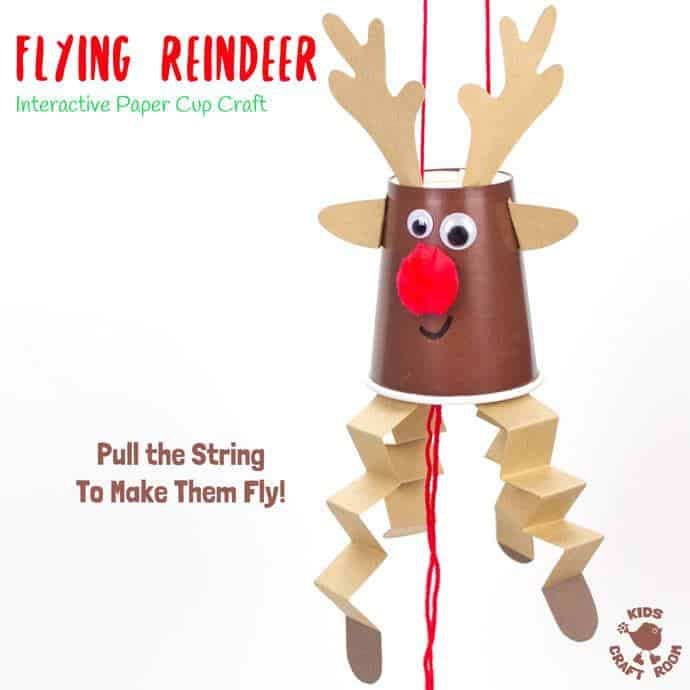 This Flying Paper Cup Reindeer Craft is so easy to make and lots of fun to play with. Pull the string to make Rudolf fly up and down! Reindeer crafts have never been such fun! An interactive Christmas craft for kids not to be missed! #rudolf #reindeer #reindeercrafts #reindeercraftsforkids #reindeercraftsforpreschoolers #reindeercraftsfortoddlers #christmas #christmascrafts #kidscrafts #kidscraftroom
