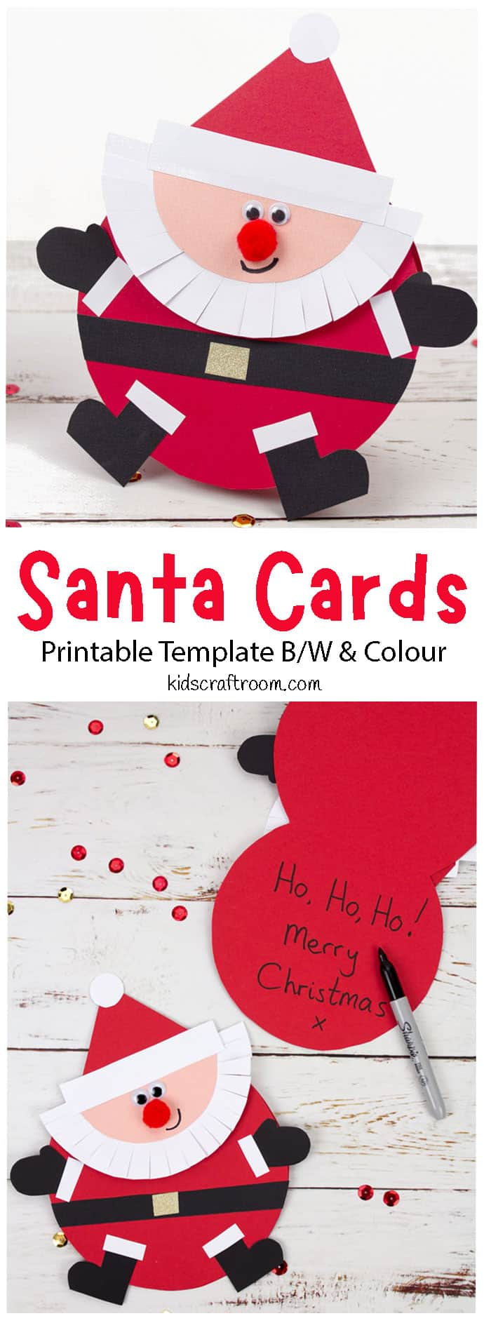 Round Santa Christmas Cards Craft pin image 1