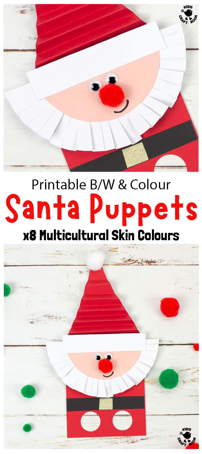 Finished Santa Craft Made With Santa Finger Puppet Template pin image 1