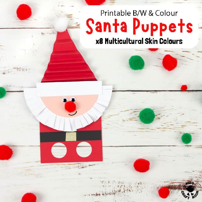 Finished Santa Craft Made With Santa Finger Puppet Template pin image 3