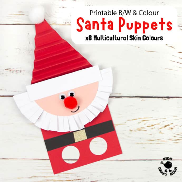 Finished Santa Craft Made With Santa Finger Puppet Template pin image 2