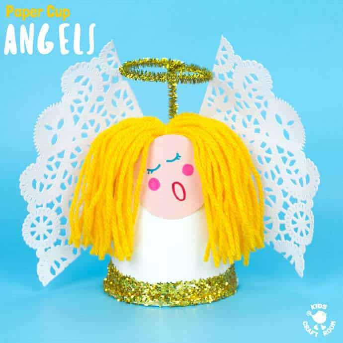 This Pretty Paper Cup Angel Craft is easy to make and looks darling! Decorate the mantlepiece, use as a Christmas tree topper or hang them as ornaments! A fun Christmas craft for preschoolers. #angel #angels #angelcrafts #christmas #christmascrafts #kidscrafts #kidscraft #papercups #kidscraftroom