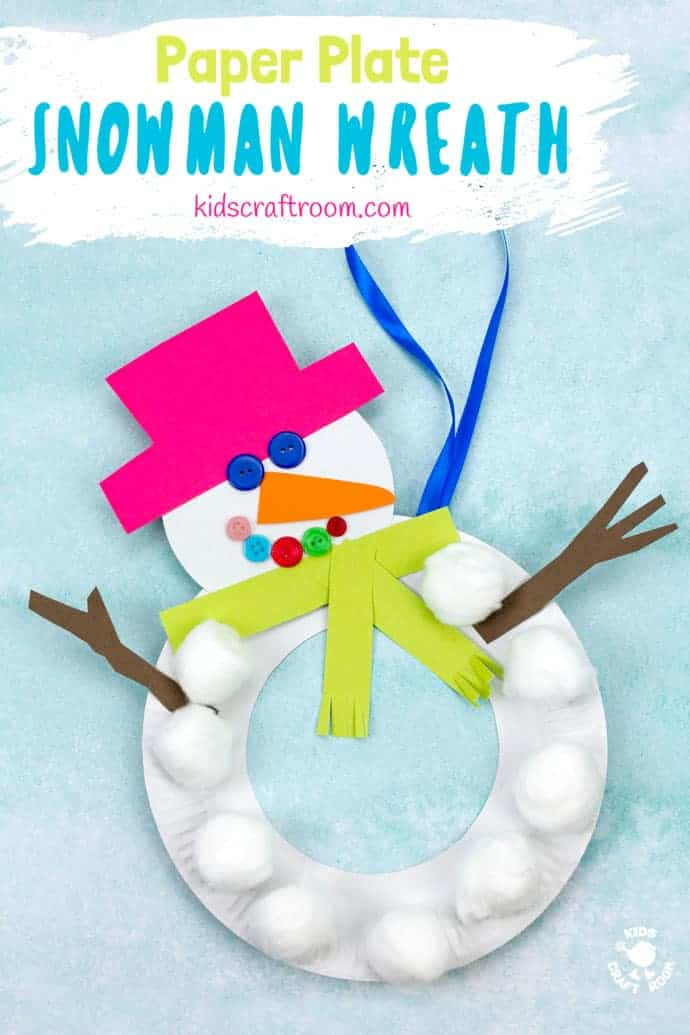 This Paper Plate Snowman Wreath is adorable! With button eyes and a cheeky smile no-one will be able to resist! This simple paper plate snowman craft is a great Christmas and Winter craft. Hang them on the door, window or wall for some snowman craft fun! #winter #snowman #wreath #paperplate #kidscrafts #wintercrafts #christmascrafts #christmas #paperplatecrafts #preschool #toddlers #kidscraftroom