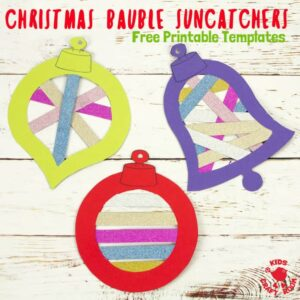 Christmas Bauble Suncatchers are a fun way to make your windows look colourful and festive. These pretty Christmas suncatchers are easy to make with 3 free printable frames to choose from. A colourful Christmas ornaments craft for kids of all ages. #suncatcher #christmas #baubles #christmascrafts #kidscrafts #kidscraftroom #papercrafts #washitape #ornaments #freeprintable #printable