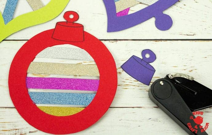 Printable Christmas Ornament Suncatcher Craft step 8