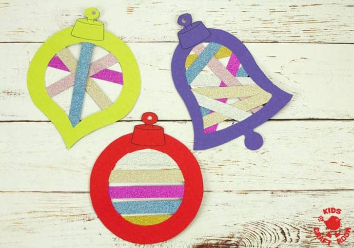Printable Christmas Ornament Suncatcher Craft step 9