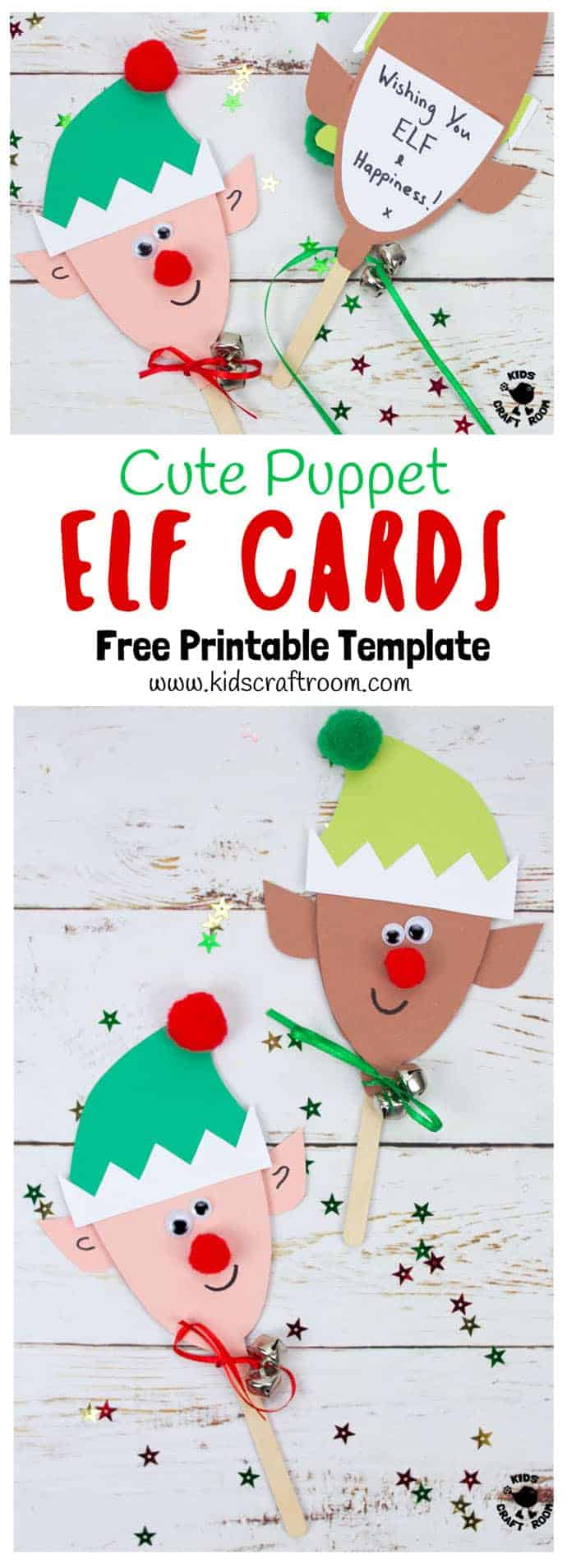 photo relating to Printable Christmas Cards for Kids referred to as Puppet Elf Xmas Playing cards - Youngsters Craft Space