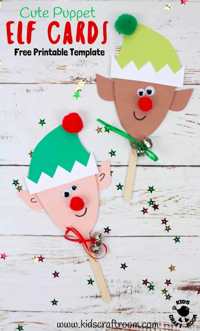 Puppet Elf Christmas Cards are so cute and fun! They're really easy to make with the free printable template. These are adorable Elf Christmas Cards and puppet toys in one! A fun Christmas craft for kids to make and play with. #christmas #christmascrafts #christmascards #elf #elves #freeprintable #printablecrafts #kidscrafts #kidscraftroom #papercrafts