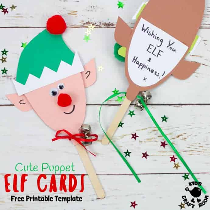 photograph regarding Printable Christmas Cards for Kids named Totally free Printable Elf Card Template - Young children Craft Space