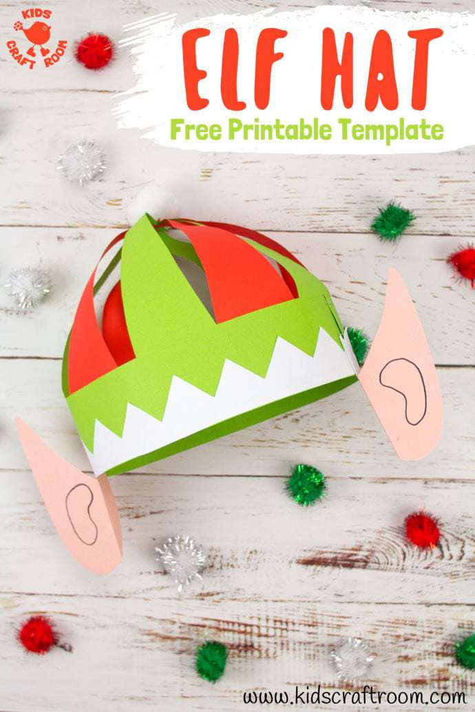 photograph about Santa Hat Template Printable named Lovely Elf Hat Craft Printable - Little ones Craft Space