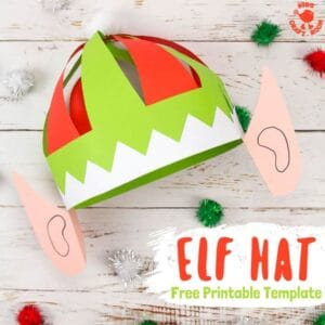 This cheeky, colourful elf hat craft with ears is really easy to make with the FREE printable pattern. Print it and colour or trace around it onto coloured paper. Fun Christmas hats for kids and grown ups! #elf #elves #elfcraft #elfhat #christmas #christmascrafts #kidscrafts #printable #papercrafts #kidscraftroom