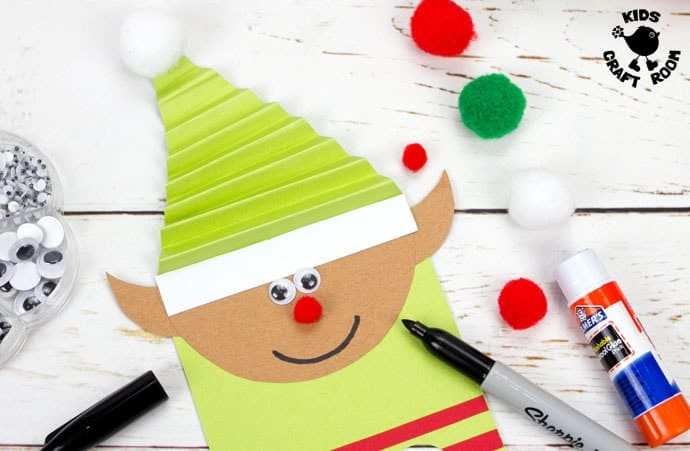 elf finger puppet craft with printable template kids craft room