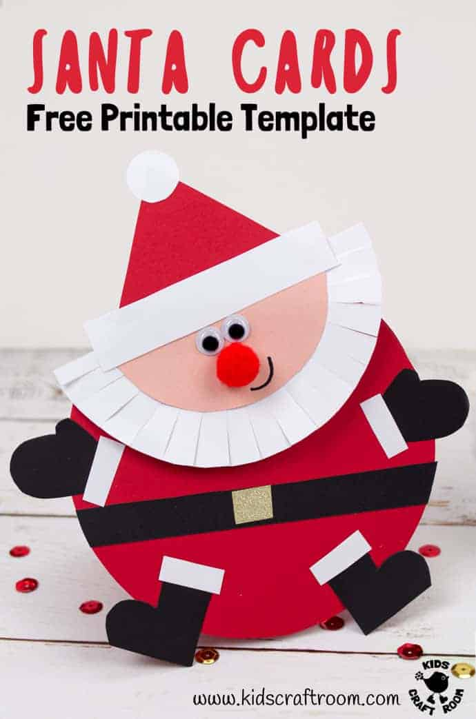Make your own fun and cute Santa Christmas Cards! This adorable Christmas craft is so easy! Download the free printable template to colour in or trace around onto coloured card. Such a jolly round Santa craft! #santa #santaclaus #santacrafts #christmas #christmascrafts #christmascards #papercrafts #kidscrafts #kidscraftroom #FatherChristmas #greetingcards #cards