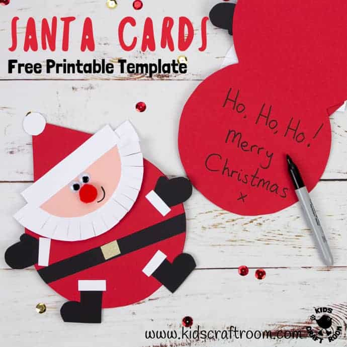 graphic regarding Free Printable Photo Christmas Card Templates named Absolutely free Printable Santa Card Template - Little ones Craft House