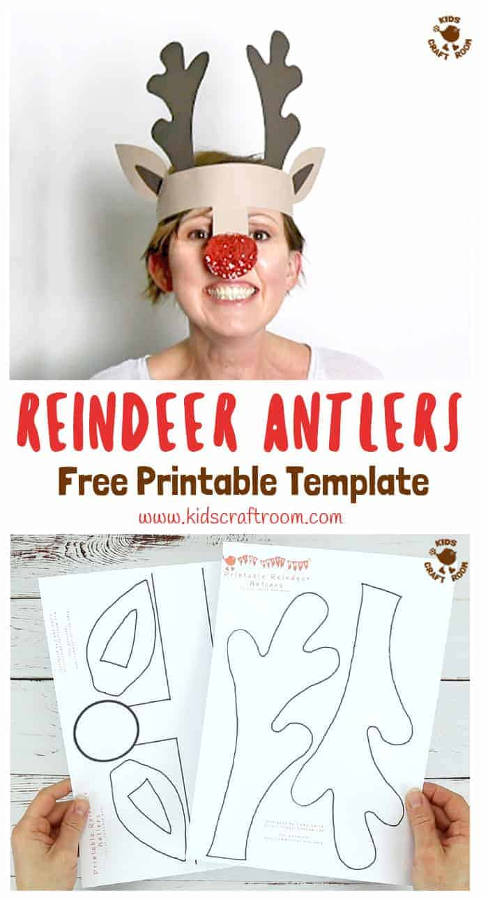 PRINTABLE REINDEER ANTLERS HAT - Make your own gorgeous and fun Reindeer Antlers. Print them onto plain card to paint or trace them straight onto coloured card. Easy Christmas fun for kids! #freeprintables #printables #christmascrafts #reindeercrafts #reindeer #rudolf #christmasforkids #christmashats #reindeerhat #antlers #rudolf #christmascraftsforkids  #printablecrafts #christmasideas #kidscraftroom