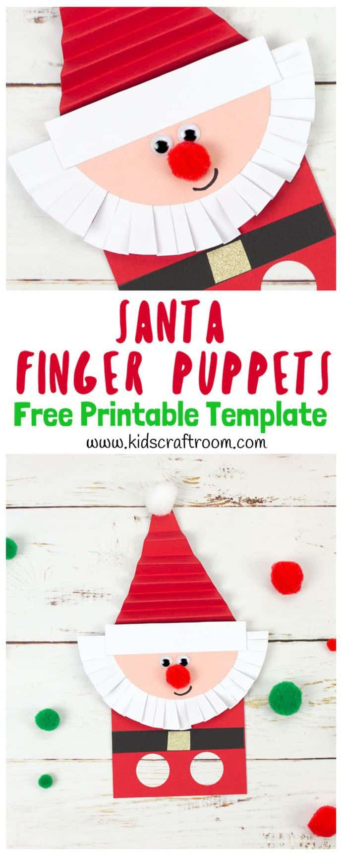 Download the free Santa Finger Puppet Template to make the cutest Santa puppets. A fun interactive Christmas craft for kids to encourage imaginative play and story telling. This Santa craft has concertina folded hats and scissor cut beards which gives lots of opportunity for kids to develop their fine motor skills too. #santa #santacrafts #christmas #christmascrafts #kidscrafts #papercrafts #printables #puppets #fingerpuppets #kidscraftroom