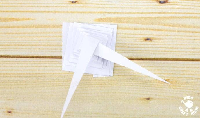 Folded Paper Icicle Craft Step 5