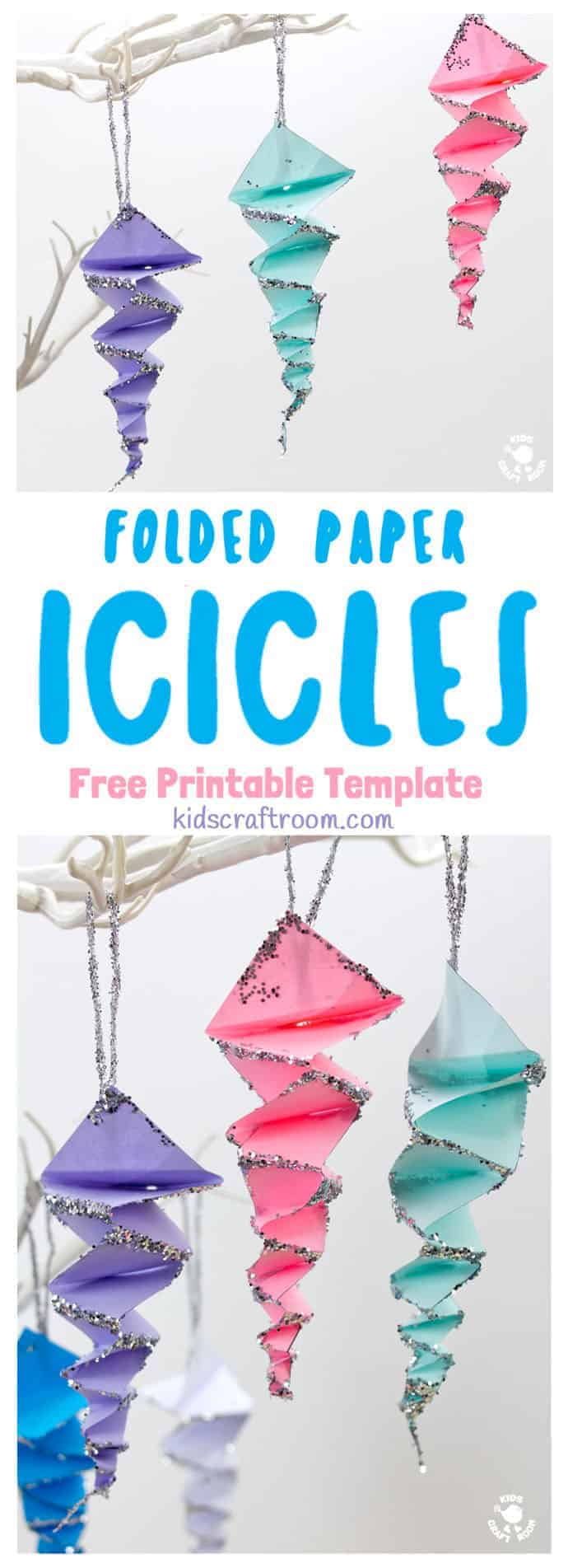 This Folded Paper Icicle Craft looks fantastic in white or colours. These homemade icicles are easy to make with the free printable pattern, just print, cut and fold! A lovely Winter craft for kids. #icicles #iciclecrafts #winter #wintercrafts #kidscrafts #papercrafts #origami #kidscraftroom #paperfolding