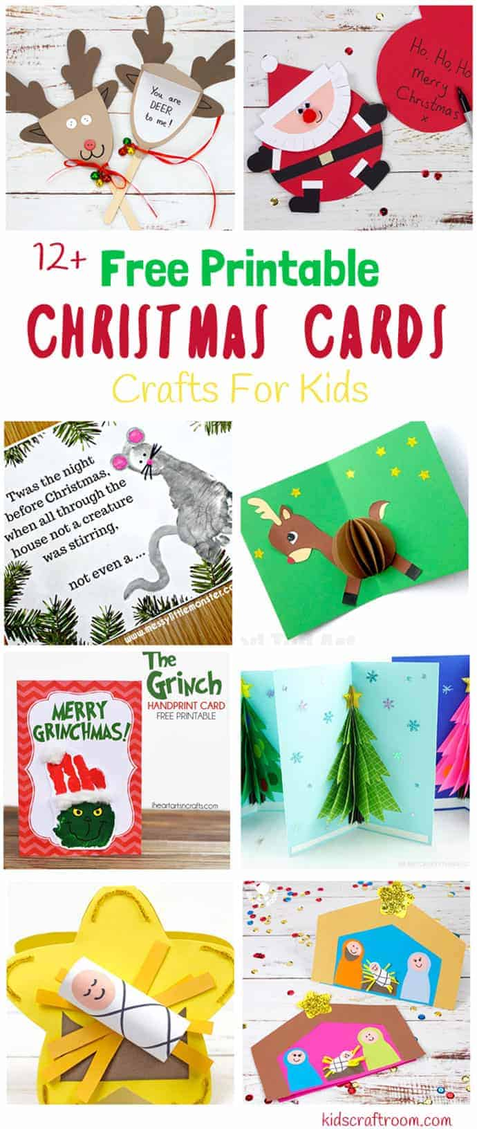 Would you love to send homemade Christmas cards this year? We've made it super easy with this gorgeous collection of FREE PRINTABLE CHRISTMAS CARDS. Grab your downloads are enjoy some fun Christmas card crafts today! #christmas #christmascards #christmascrafts #kidscrafts #greetingcards #printables #cards #preschool #kidscraftroom