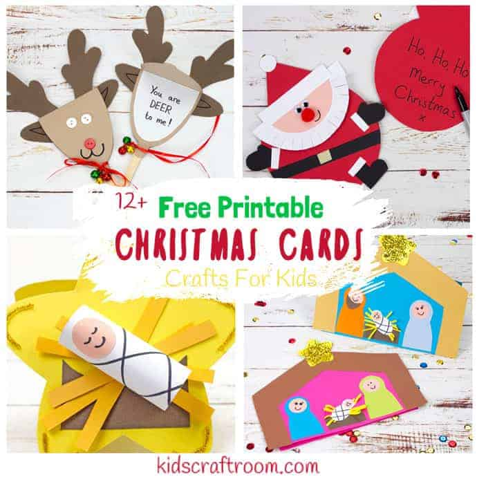 photograph regarding Printable Cards for Kids named Printable Xmas Playing cards For Children - Small children Craft Area