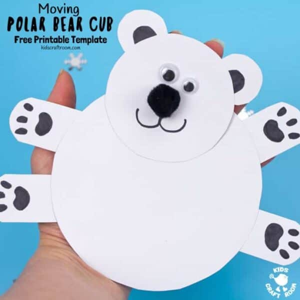 This Moving Polar Bear Cub Craft is just darling! Cradle it in your hands and move its head from side to side to bring it to life. It is so cute! Such a fun Winter craft for kids. (Free Printable Template) #kidscraftroom #kidscrafts #polarbears #polarbear #printables intercrafts #wintercraftsforkids #papercrafts #printables #printablecrafts #freeprintables #freeprintablesforkids #kidsactivities via @KidsCraftRoom