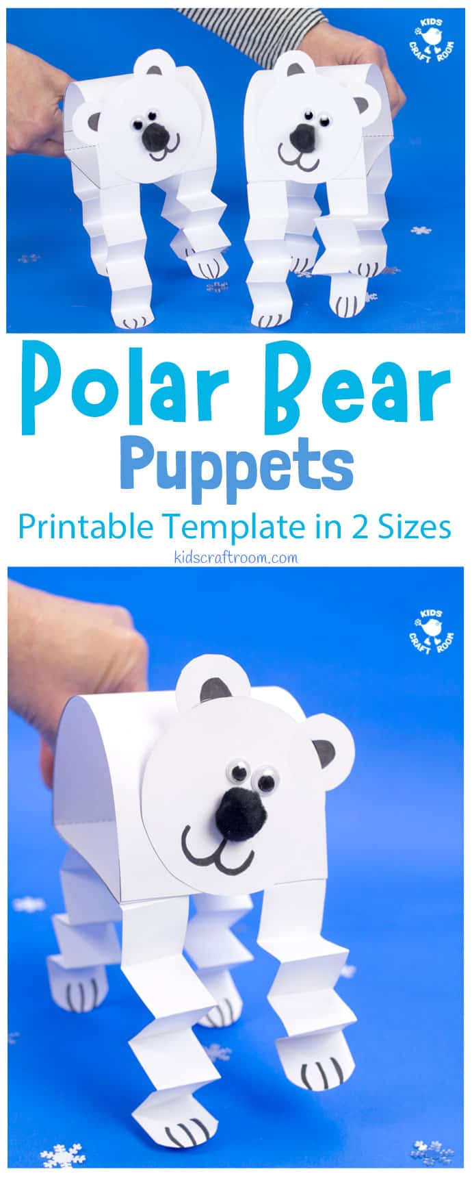 Polar Bear Puppet Craft pin 1