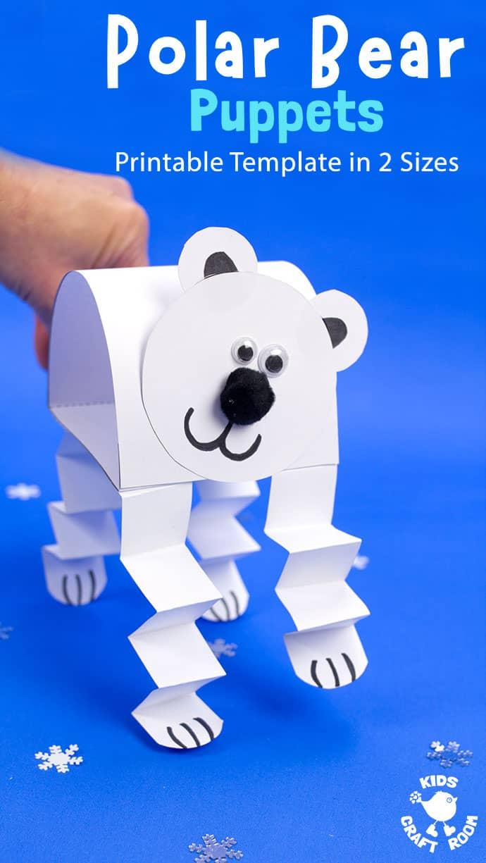 Polar Bear Puppet Craft pin 3