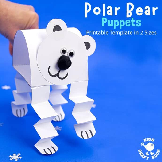 Polar Bear Puppet Craft pin 2