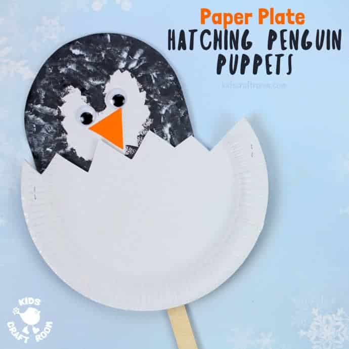 Hatching Paper Plate Penguin Chick Puppets are easy and so cute! This paper plate penguin craft is a fun and interactive Winter craft for toddlers and preschoolers. #penguins #penguin #penguincrafts #paperplates #paperplatecrafts #kidscraftroom #kidscrafts #kidscraft #winter #wintercrafts #puppets #puppetcrafts