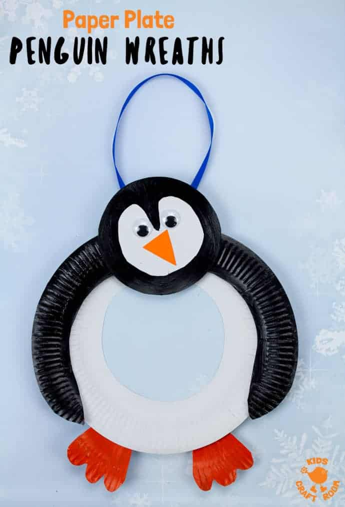 Grab a couple of paper plates to make this adorable Paper Plate Penguin Wreath. We love how you can place the wings and head in different positions to make each paper plate penguin craft unique and characterful! Such a fun Winter craft for kids. #kidscraftroom #paperplate #penguin #penguins #penguincrafts #paperplatecrafts #wintercrafts #kidscrafts #kidsactivities #wreath #preschoolers #toddlercrafts #preschoolcrafts
